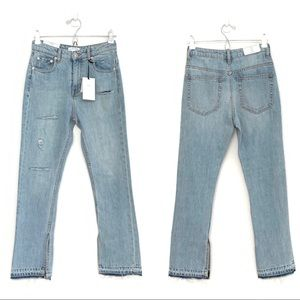 NWT Zara distressed high rise open hem jeans sz 2
